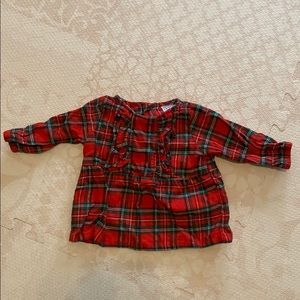 Carter's Baby Girl Red Tartan Plaid Top
